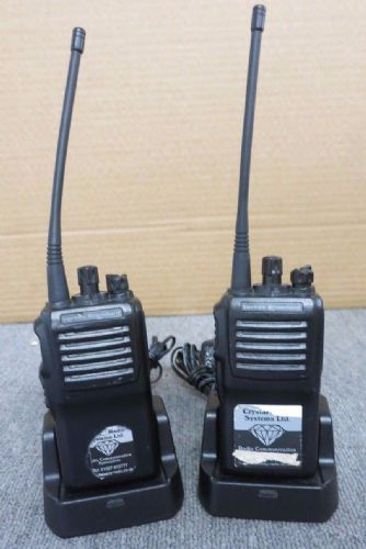 2 x Vertex Standard VX-231-G6-5 UHF / VHS 5 Watt 16 Channel Two Way Radio Walkie